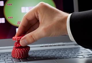 poker chips at computer