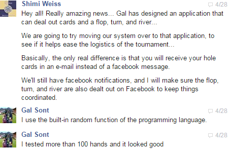 Gal's poker email application