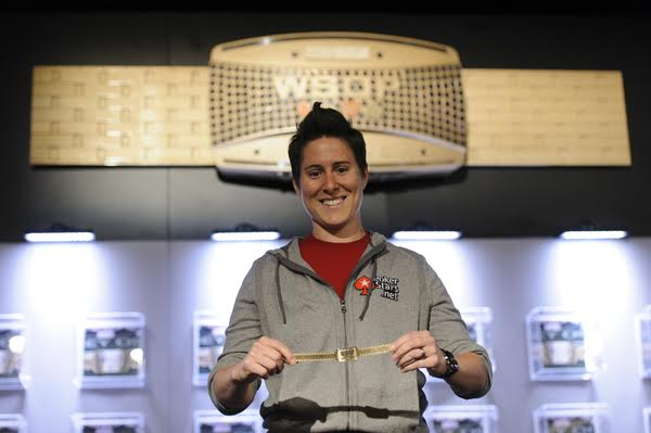 Vanessa Selbst with one of her three WSOP bracelets