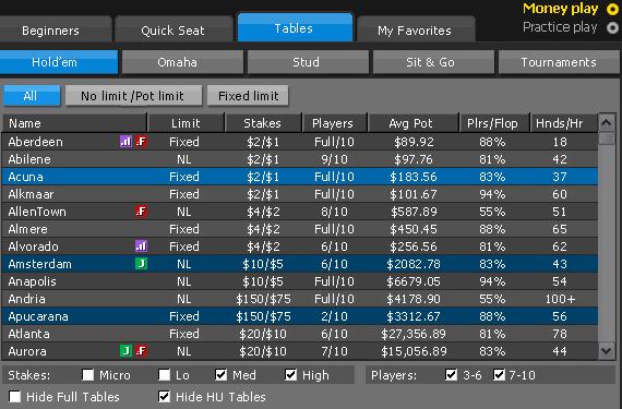 online poker lobby
