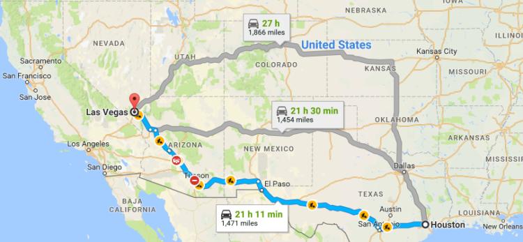 Houston to Vegas driving