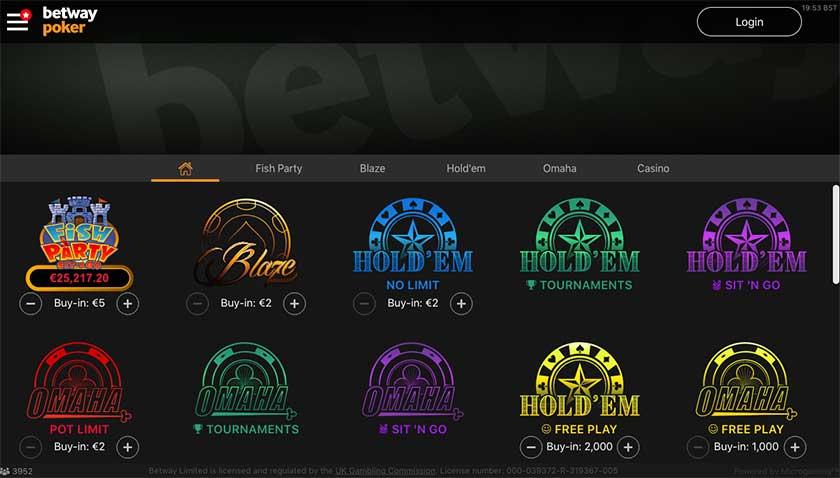 Betway poker games