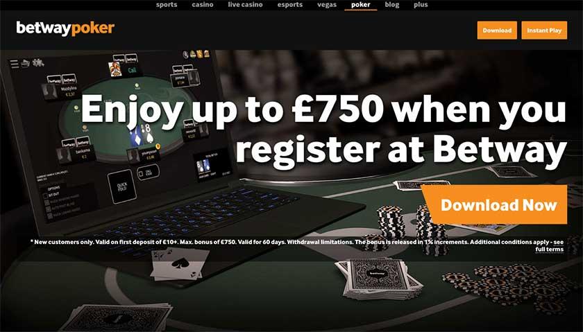 Betway poker screenshot