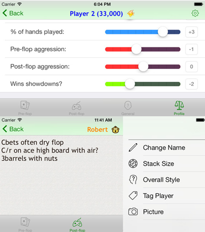 Poker Notes Live iOS screenshots