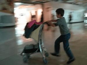 airport trolley kid