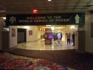 WSOP hallway entry banner