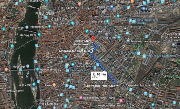 Prague Poker Clubs map