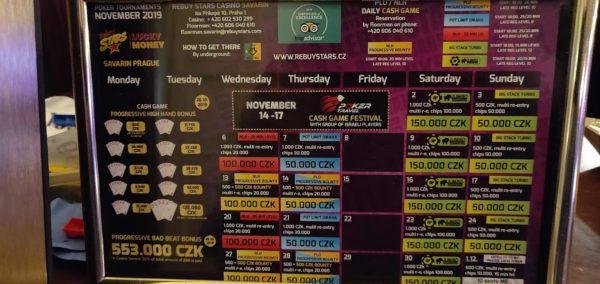 Rebuy Stars casino Prague tournament schedule