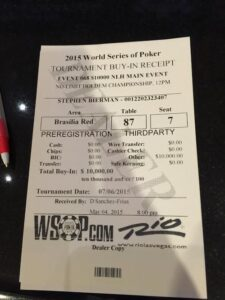 Steve's WSOP Main Event receipt