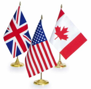 US UK Canada flags