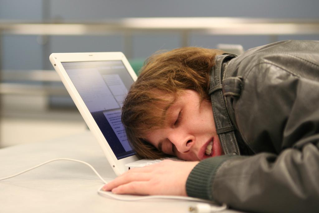 sleeping at the computer