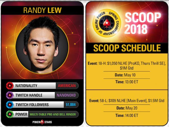 Randy Lew SCOOP 2018 Twitch schedule