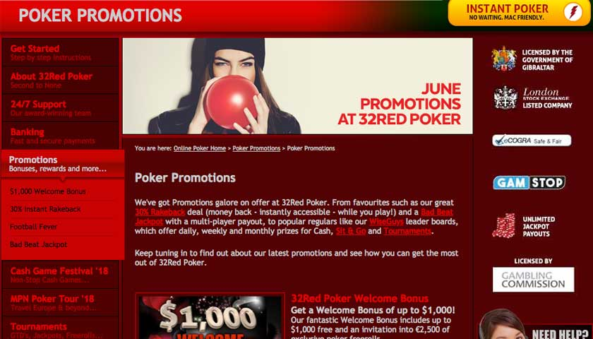 32Red Poker promotions