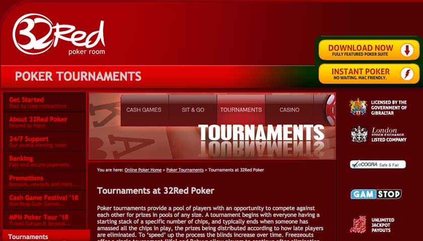 32Red Poker tournaments