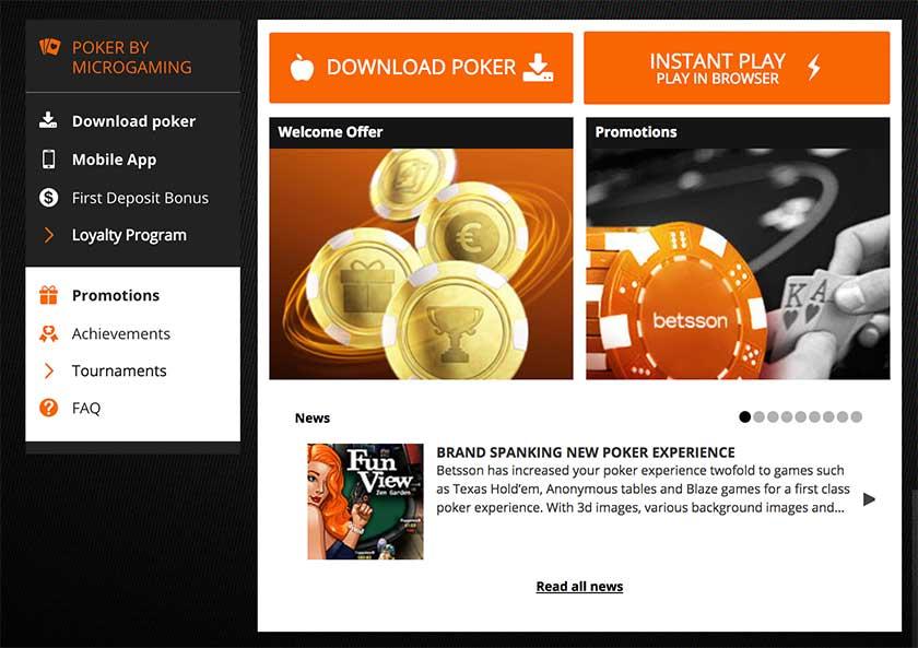Betsson Poker app