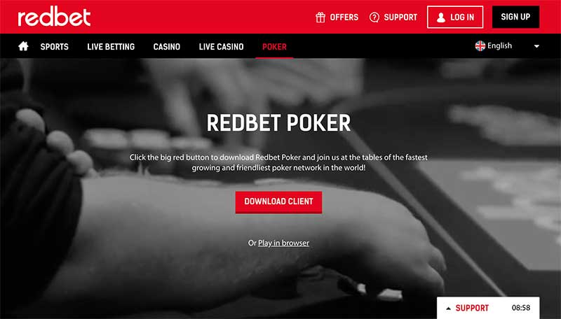 Redbet poker screenshot