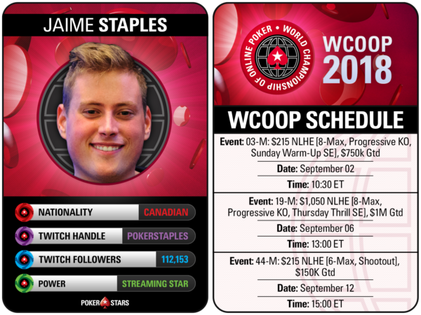 Jaime Staples 2018 WCOOP schedule