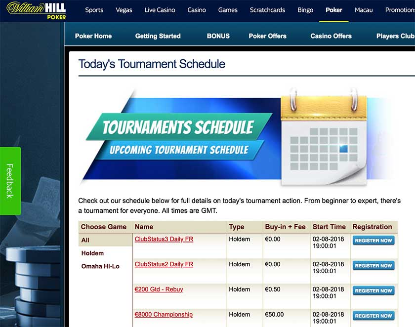 William Hill Poker Tournaments