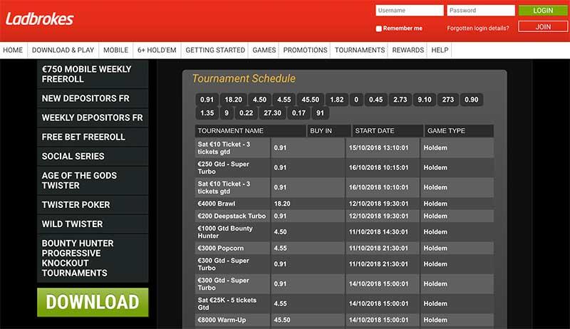 Ladbrokes online poker tournaments