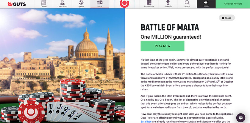 Guts Poker tournament Battle of Malta