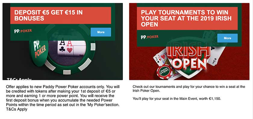 Paddy Power poker welcome bonuses