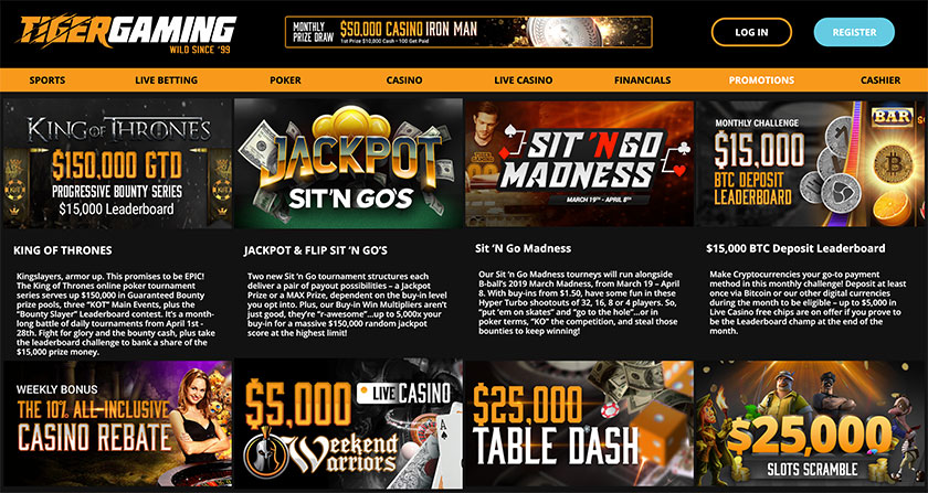 Tiger Gaming poker promotions