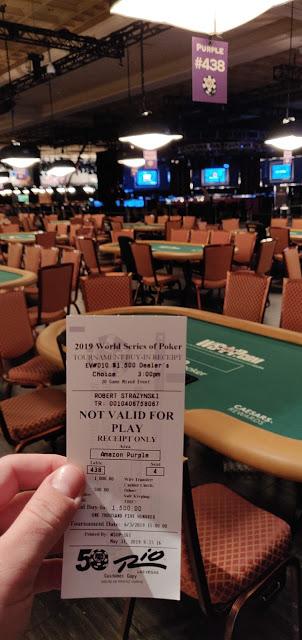 1500 WSOP receipt poker table