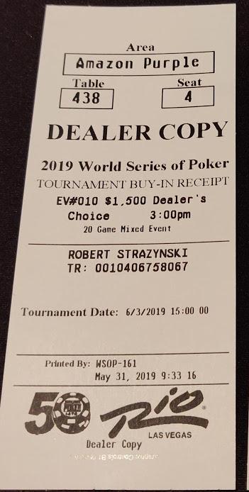 1500 Dealer's Choice receipt