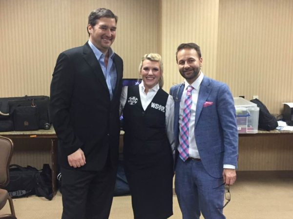 Emily DeLaine with Phil Hellmuth and Daniel Negreanu