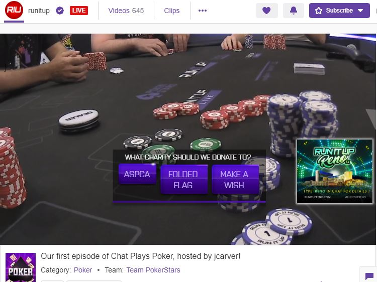 Chat Plays Poker charity donation
