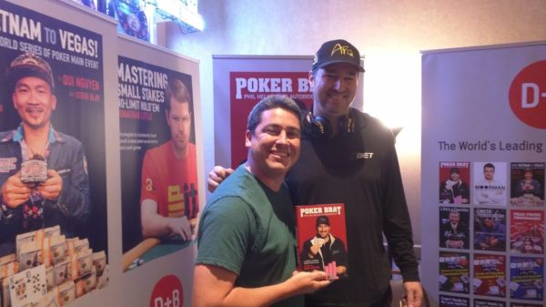 D&B Poker WSOP Booth Robbie and Phil Hellmuth