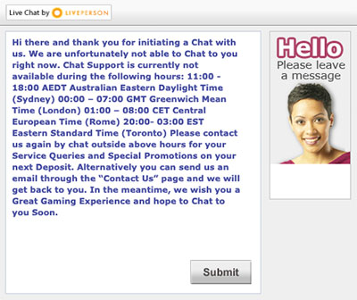 ask casino livechat