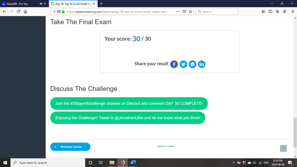 Pokercoaching.com 30-day challenge Final Exam