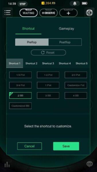 Pokio customisable bet sizes