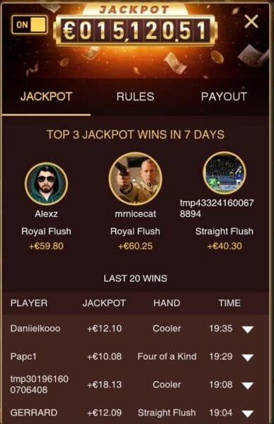 Pokio high hand jackpot