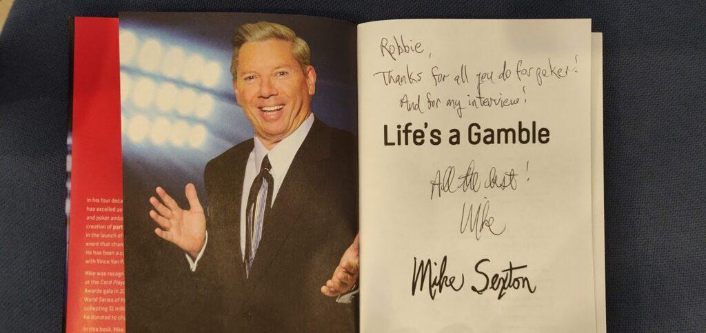 Mike Sexton book inscription