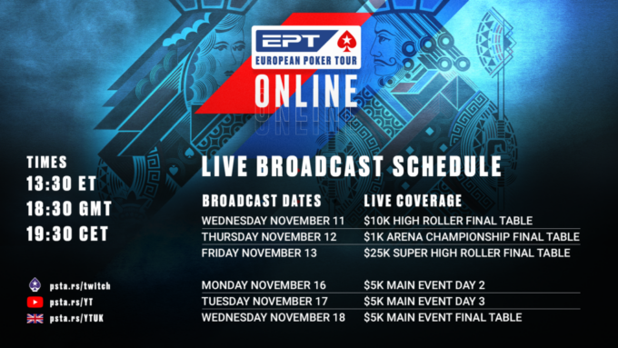 EPT Online Schedule