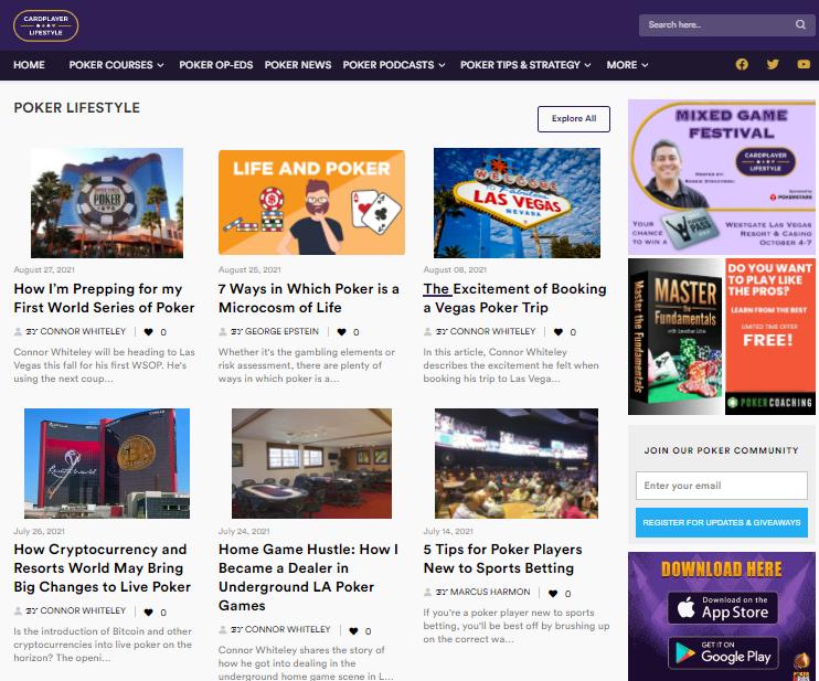New Cardplayer Lifestyle website